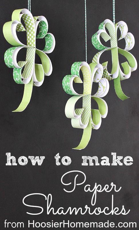 St. Patrick's Day Craft: How to make Paper Shamrocks :: Instructions on HoosierHomemade.com