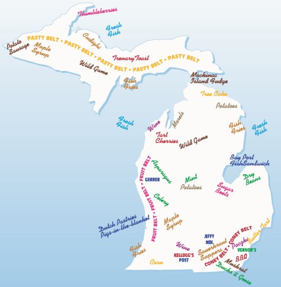 map of food specialties of Michigan- I <3 Michigan.