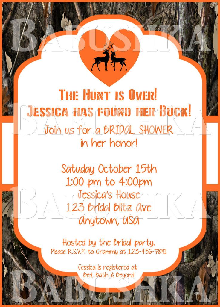 Camo Bridal Shower Invitation with Deer and Heart Choose Your Color/ Country Themed Bridal Shower Invitation by BabushkasPrintables on Etsy