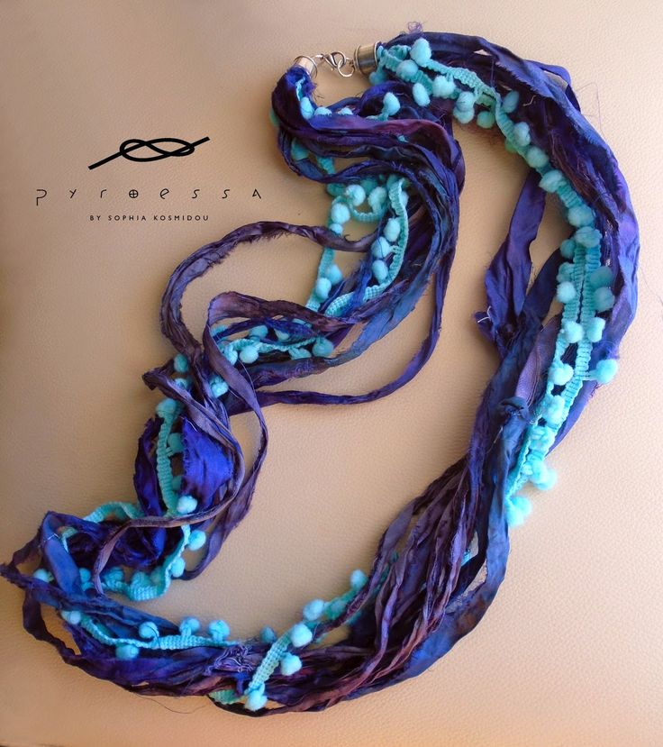 """Pyroessa Handmade: """"Floral"""" new spring collection  Purple sari silk ribbon with turqouise pon pon lace"""