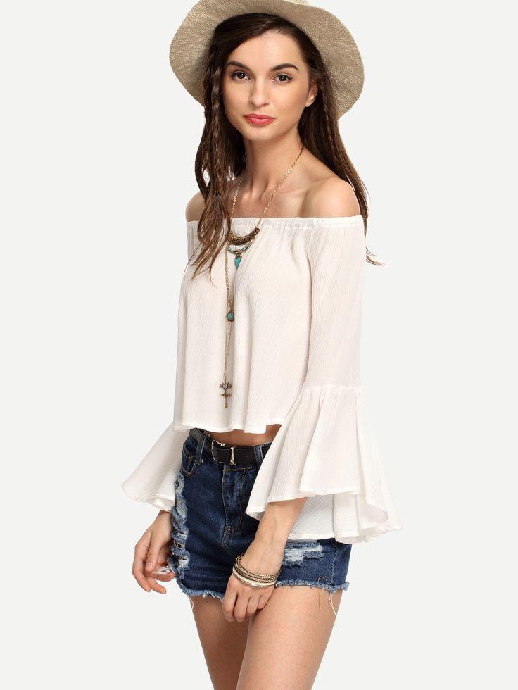 Blusa manga larga de mujer color blanco de SheIn