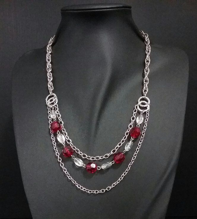 Red bead and silver chains by IV Creations