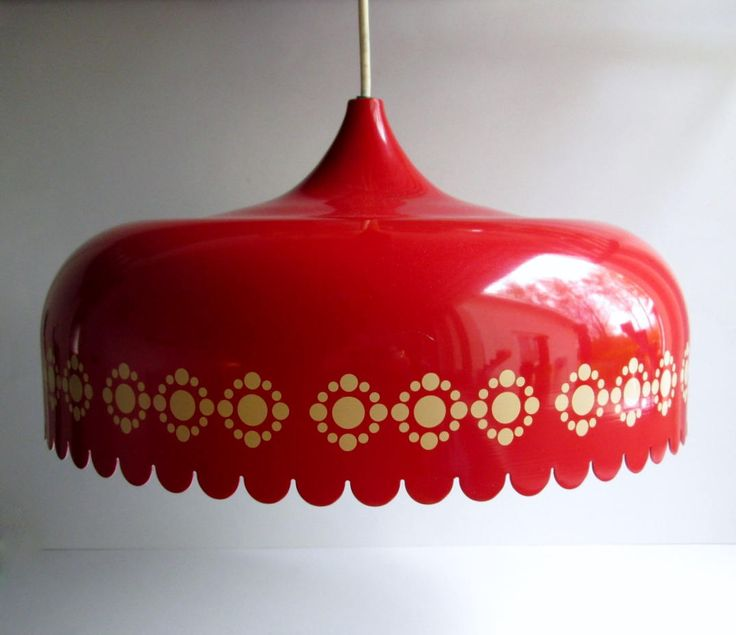 Mid-century Danish Fog & Mørup red metal vintage pendant ceiling lamp design attributed to Kaj Franck 110+220 Volt. by SCALDESIGN on Etsy