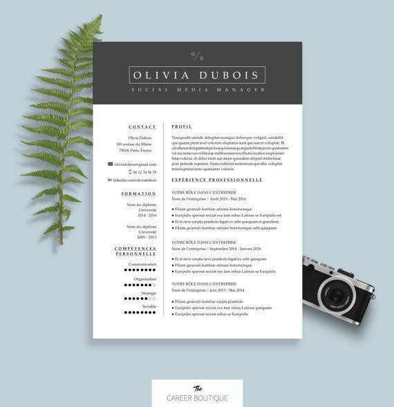 Modèle de CV   Resume Template   Lettre de Motivation pour MS Word   Téléchargement Numérique Instantané   Olivia