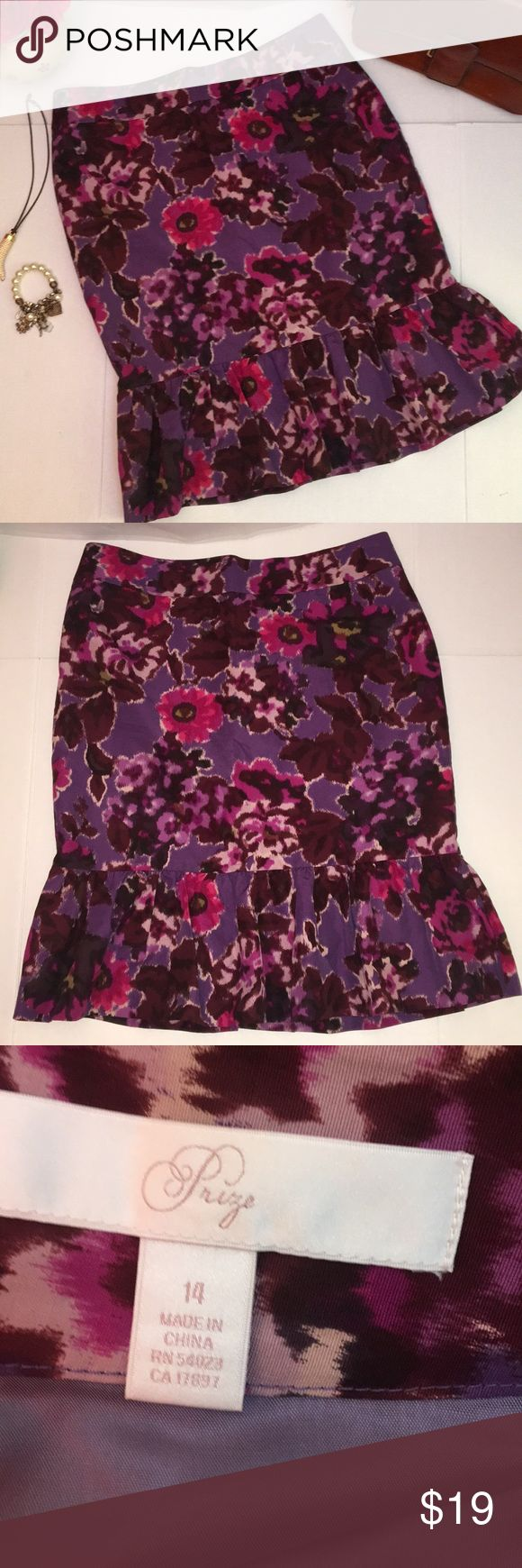 """Prize Skirt Size 14 Prize Skirt Size 14 Multicolor- Purple, Pink, Brown 70% Cotton 30% Silk  Pre-owned Sold as-is Only one minor flaw (see blow)  Approximate flat lay measurements: Waist - 17"""" Hip - 21"""" Length - 24""""  Condition: Very Good condition except for minor flaw in lining.  No stains holes or major signs of use There is a small, about 2 inches rip on liner (Photo 8).  Reasonable offers accepted. No trades please.  Thank you for Poshing! 😊🌺 Prize Skirts"""