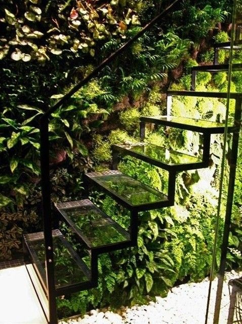 Floating stair case No. 1 = green and earthy with structure