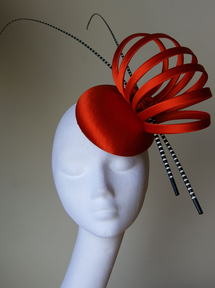 Dramatic tangerine silk button headpiece from the stunning new collection from Esther Louise Millinery.