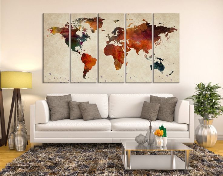 26 best watercolor world map canvas images on pinterest mapa del abstract sephia watercolor world map canvas wall art print large wall art watercolor world map gumiabroncs Images