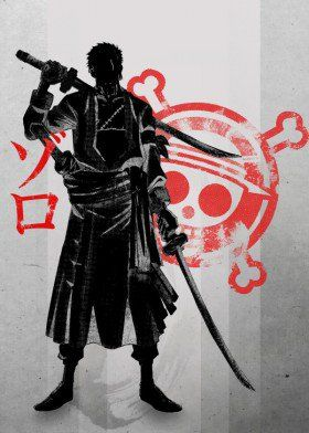 Anime Manga One Piece Sword Three Samuari Zoro Luffy Pirate Skull Japanese Japan Red Scar Killer Hunter Robe Inking Ink Greatest Popular Fun Cool Vintage