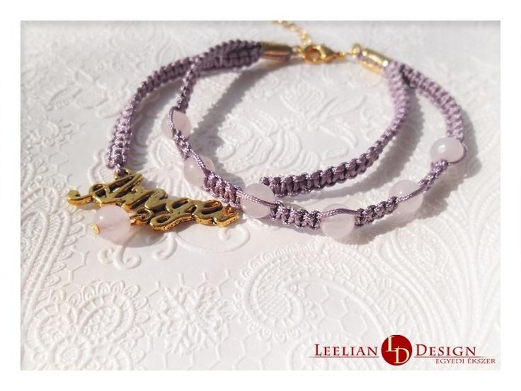 """Angel"" double bracelet with rosequartz.  ""Angyal"" dupla karkötő rózsakvarccal."