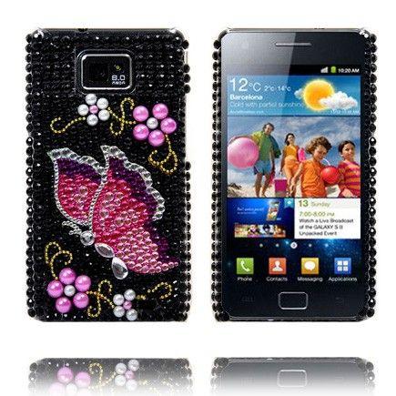 Paris Star (Pinkki Perhonen) Samsung Galaxy S2 BlingBling Suojakuori