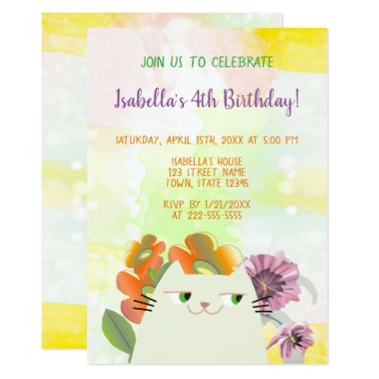 Birthday Party Cat Floral Spring Watercolor Cute Card