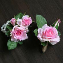2 шт./лот розовыми цветами DIY невесты запястье цветы человека женщин наручные корсажи жених бутоньерка свадебные цветы ну вечеринку украшения(China (Mainland))