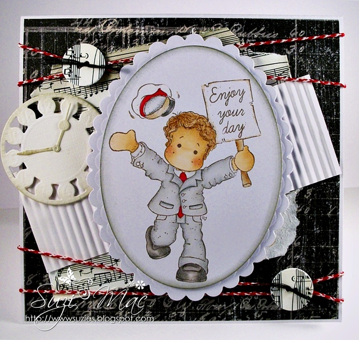 Dt card for It's all about the Boys challenge over at Magnolia-licious. Edwin available at http://www.magnoliastamps.us/ #cards #crafts More info at http://wwwsuzies.blogspot.com