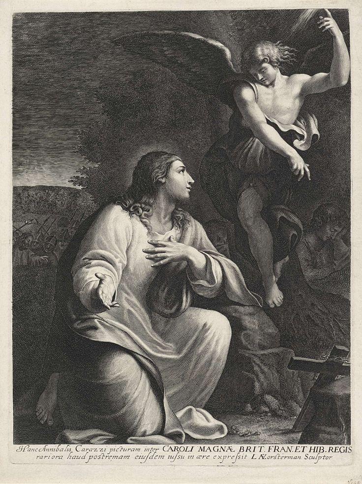 Lucas Vorsterman (I) | Christus in de Hof van Olijven, Lucas Vorsterman (I), Karel I (koning van Engeland), 1624 - 1629 | Een engel verschijnt aan Christus in de Hof van Olijven. De discipelen zijn in slaap gevallen en links achter zijn al de soldaten te zien die uitrukken om Christus gevangen te nemen.