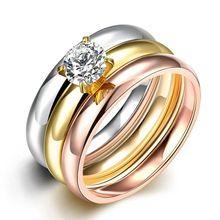 3 Peças/set 2016 18 K Rose Banhado A Ouro/Dedo de Aço de Titânio AAA anéis de Zircão 3 cores Cristais Austríacos Anéis Para As Mulheres anel.R$ 11,93.