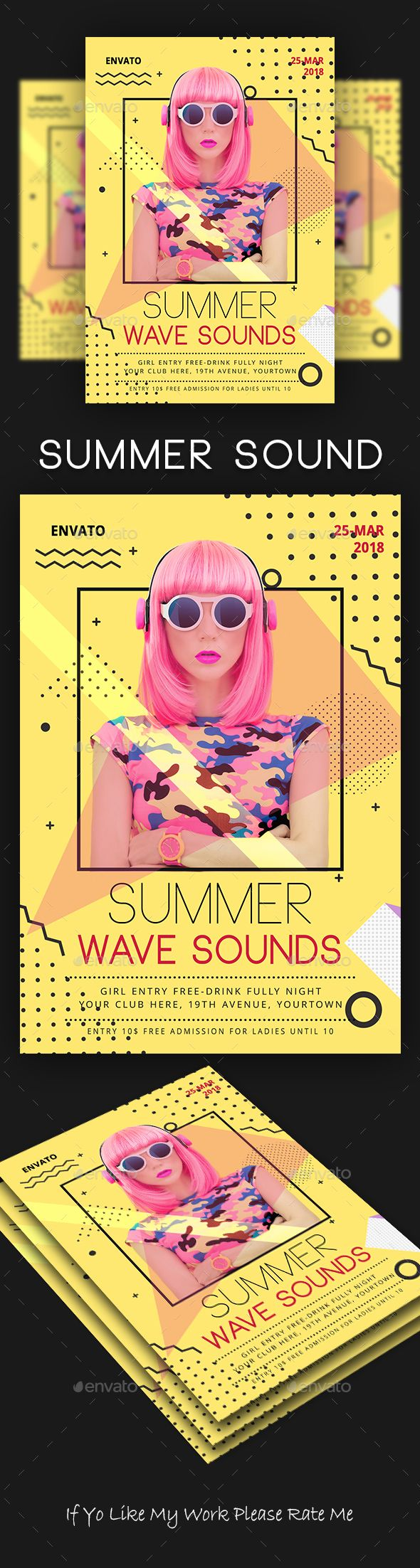 Summer Sound Party Flyer Template PSD