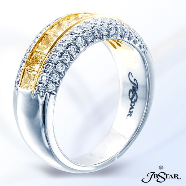 Style 1849 Gorgeous fancy yellow and white diamond band featuring round and fancy yellow princess cut diamonds in 18KY/Platinum in a cut down setting