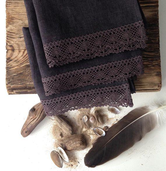 Dark Chocolate Natural Linen Hand Towels, Set of 3, Kitchen Towels, Guest Towels, Burlap, Tea Towels, Linen Lace, Rustic Style