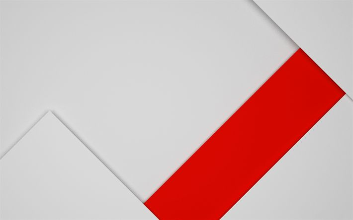 Download wallpapers material design, android, geometric abstraction, line, red rectangle