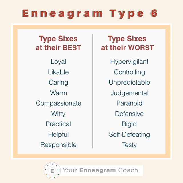 Enneagram Type 6 today be mindful of some of your best attributes and some qualities you exhibit when you're not doing so well. How can you relax, trusting God and allow these better qualities to express themselves toward yourself and others? To strengthen relationships, ask for forgiveness when you exhibit some of your not so great qualities so that reconciliation can occur.  Beth McCord YourEnneagramCoach.com  Enneagram Personality typology