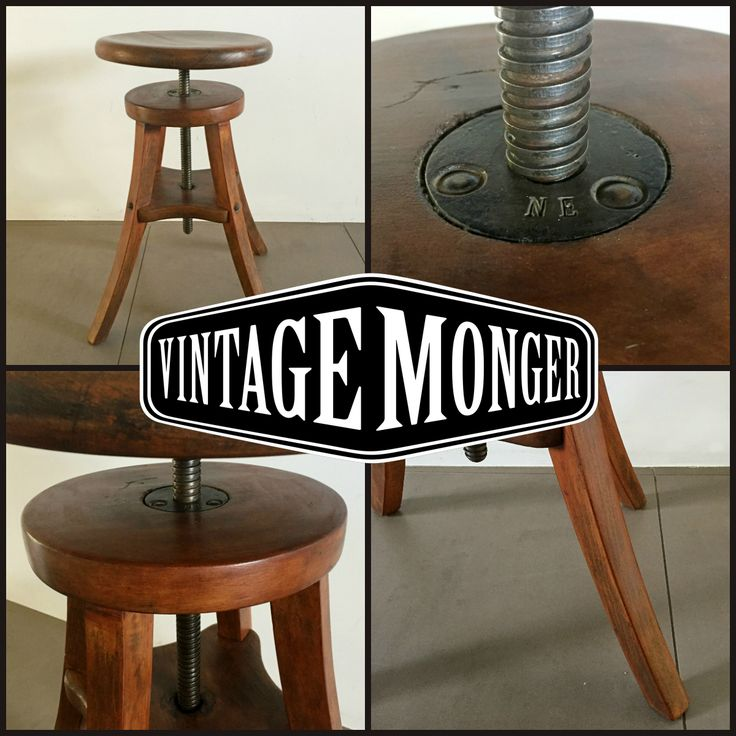 Early 20th century industrial stationary stool Fully adjustable early 20th century antique American industrial three-legged hardwood stationary stool with adjustable swivel seat.   #interiordesign, #industrialdesign, #industrial, #interieur, #vintageindustrial, #industrialoffice, #midcenturymodern, #cafe, #office, #workplace