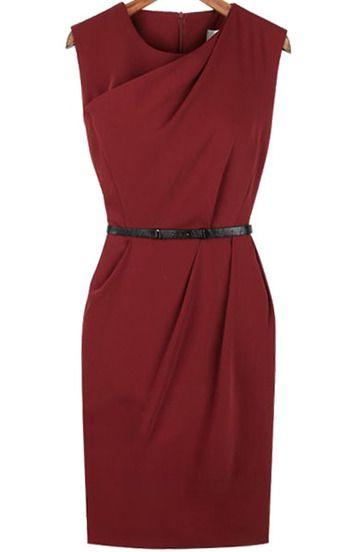 ärmelloses asymmetrisches Kleid mit Reißverschluss-rot
