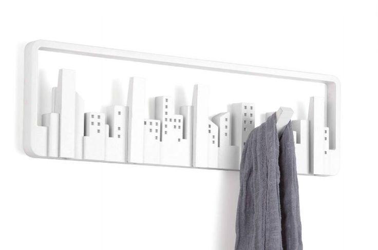 porte manteau mural design skyline sur new york design and crochet. Black Bedroom Furniture Sets. Home Design Ideas