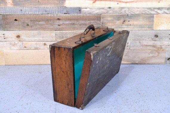 Vintage Suitcase, Upcycled Suitcase, Antique Wood Toolbox, Wooden ...