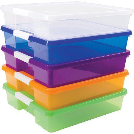Storex 12x12 Stack Amp Store Box Multiple Colors 5 Units