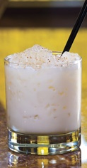Yokai My husband loves this drink.  Yokai  Ingredients:  1 ¼ oz. Pyrat rum  ¾ oz. Jim Beam bourbon  ¾ oz. Disaronno Amaretto  ¾ oz. vanilla syrup  4 oz. whole milk  grated nutmeg (garnish)