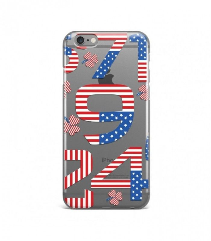 Flowers and Numbers American Pattern Clear or Transparent Iphone Case for Iphone 3G/4/4g/4s/5/5s/6/6s/6s Plus - USA0078 - FavCases
