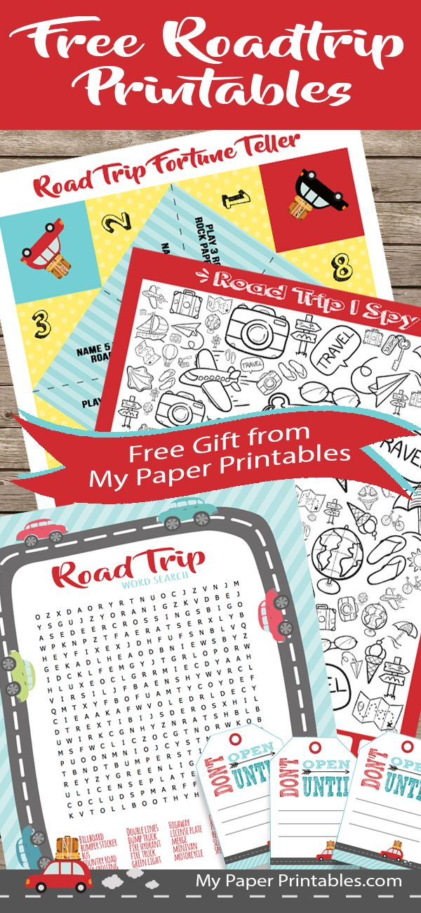 These road trip printables are perfect for our family vacation.  They kept the kids busy on our long car ride and to add an extra incentive the adorable Don't Open Until tags worked perfectly for treat bags to get us to our destination.