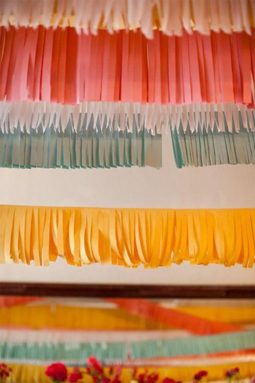 fringe: Paper Decor, Fringes Garlands, Gifts Ideas, Fringes Banners, Dinners Ideas, Parties Ideas, Paper Banners, Paper Fringes, Parties Decor