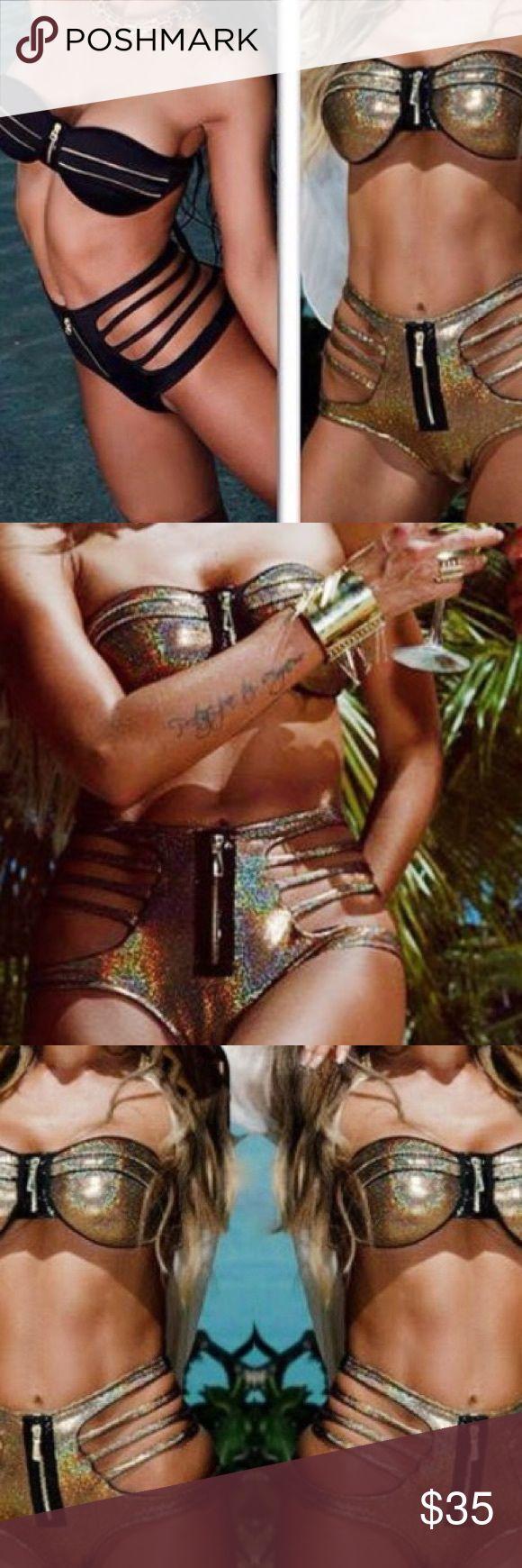 Metallic gold bikini high waisted bottoms In Now ⚡⚡👙📌📍Beautiful metallic gold bandeau bikini with high waisted strappy bottoms zips up in front adopt Swim Bikinis
