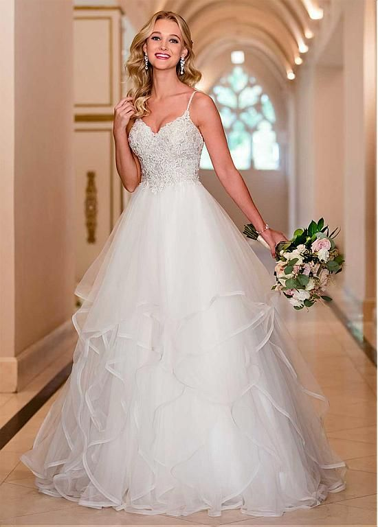 Magbridal Glamorous Tulle Spaghetti Straps Neckline A-line Wedding Dress With Beaded Lace Appliques & Ruffles