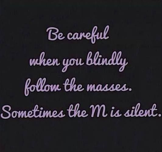 Be careful when you blindly follow the masses. Sometimes the M is silent. ;) #truth #humor - http://ift.tt/1oNRVdq