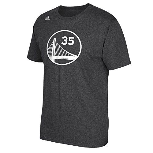 NBA Golden State Warriors Kevin Durant #35 Men's Replica Name & Number Short Sleeve Go-To Tee, Medium, Gray Heathered