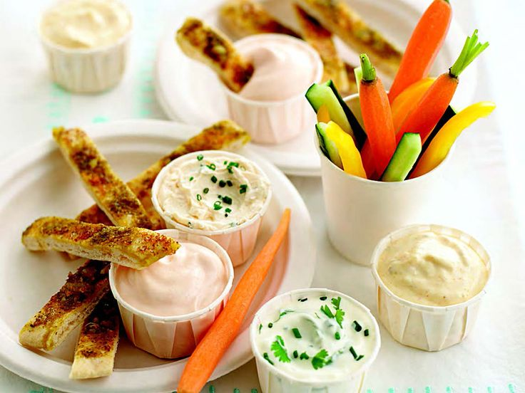 Serve with cucumber, carrot, sweet pepper sticks, pitta bread and cherry tomatoes and try some more unusual vegetables, such as sweet sugar snap peas, for dipping.