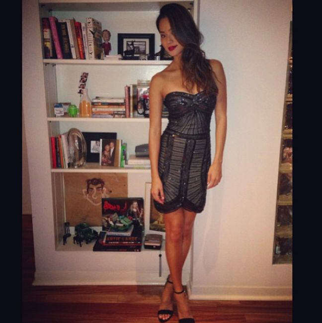 Actress Jamie Chung in our Bologna dress, coming September 15. Shop One Dress A Day today!! http://onedressaday.com