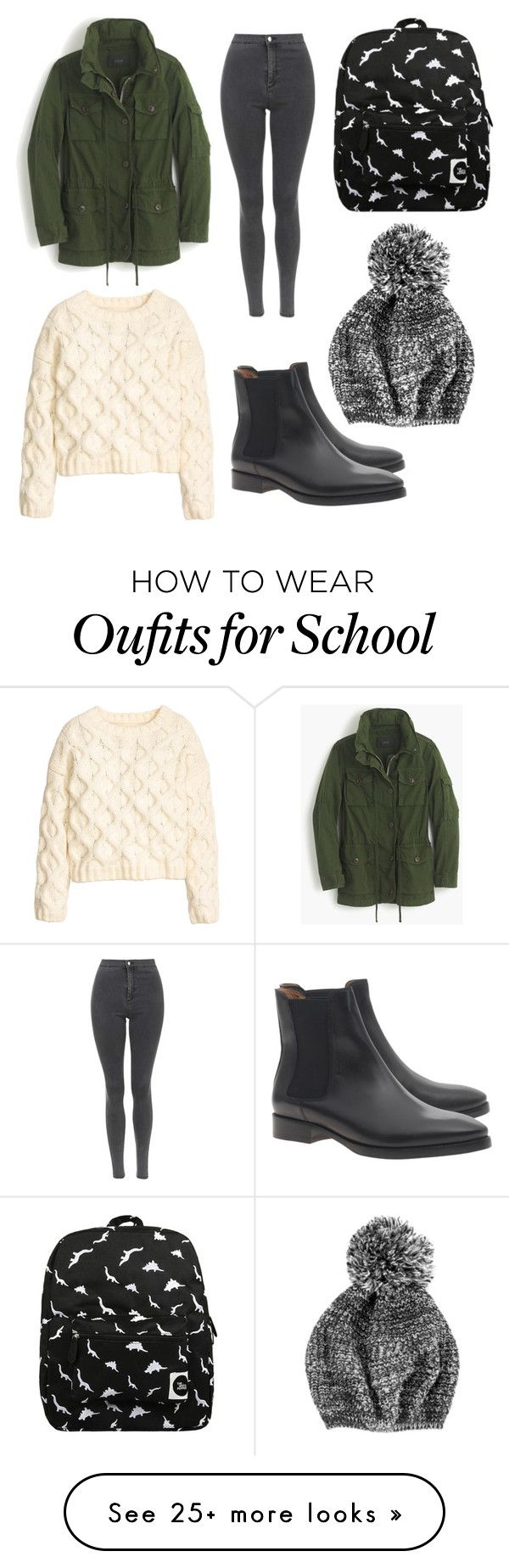 """School"" by krystaltk8 on Polyvore featuring J.Crew, H&M, Topshop, Acne Studios and Forever 21"