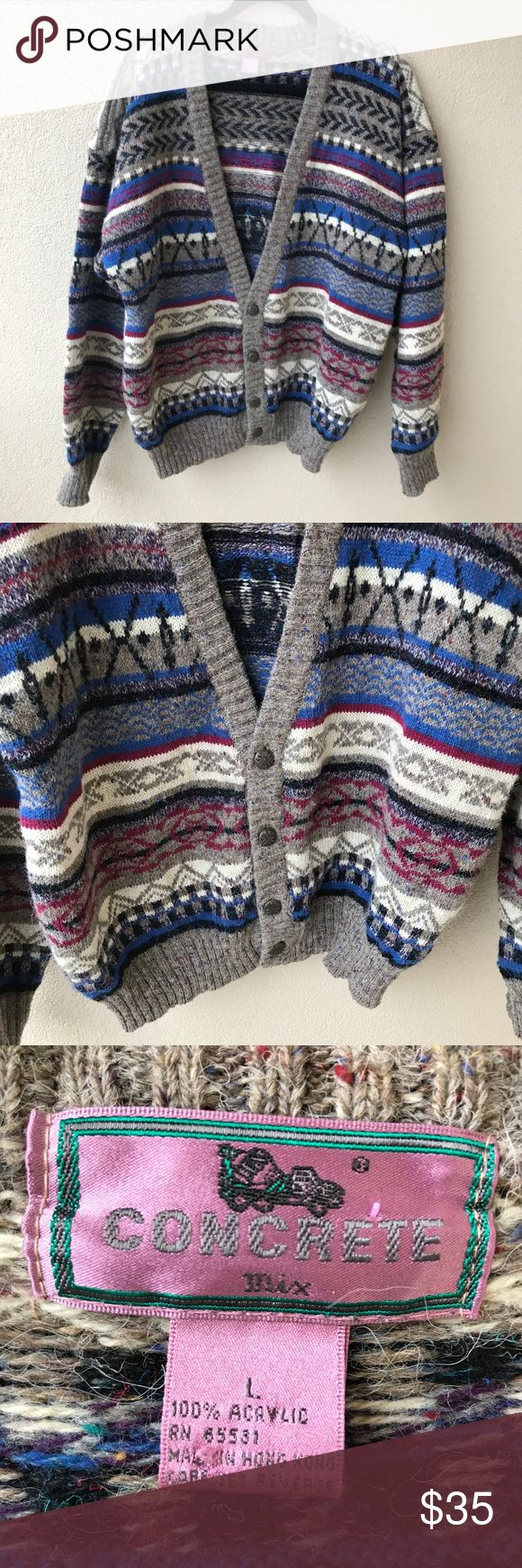 """Vintage Concrete Aztec Print Cardigan Sweater Vintage chunky cardigan grandpa Cosby sweater from Concrete.  This sweater has an Aztec, tribal type red, blue, and black print throughout with light brown speckled trim.  Excellent vintage condition.  - Size Large L - Approx. 25"""" across chest - Approx. 27"""" long - 100% acrylic Vintage Sweaters Cardigan"""