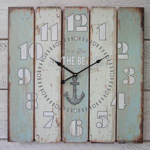 Reloj de pared grande Shabby Chic Rústico Estilo Vintage Azul de madera blanca en la playa | Home, Furniture & DIY, Clocks, Wall Clocks | eBay!