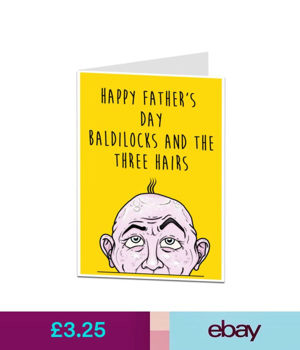 Cards & Stationery Funny Happy Fathers Day Card For Dad Bald Joke From Son Daugh...