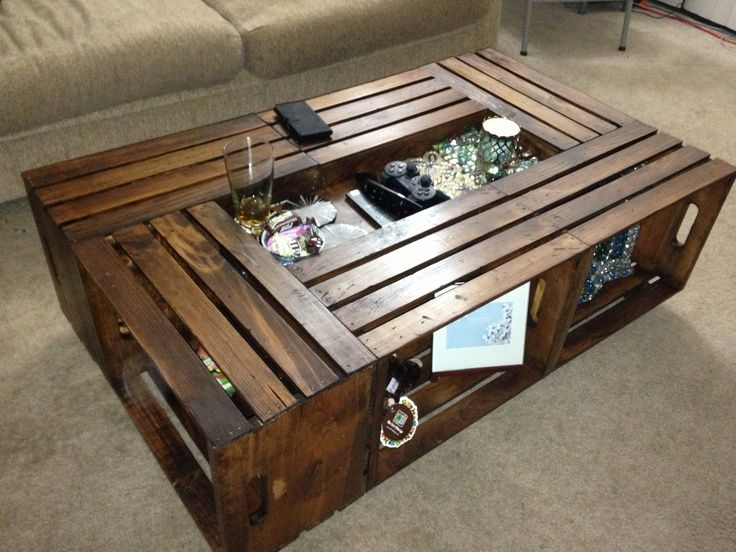 12 best crate coffee tables images on pinterest crate for Coffee table made out of wooden crates