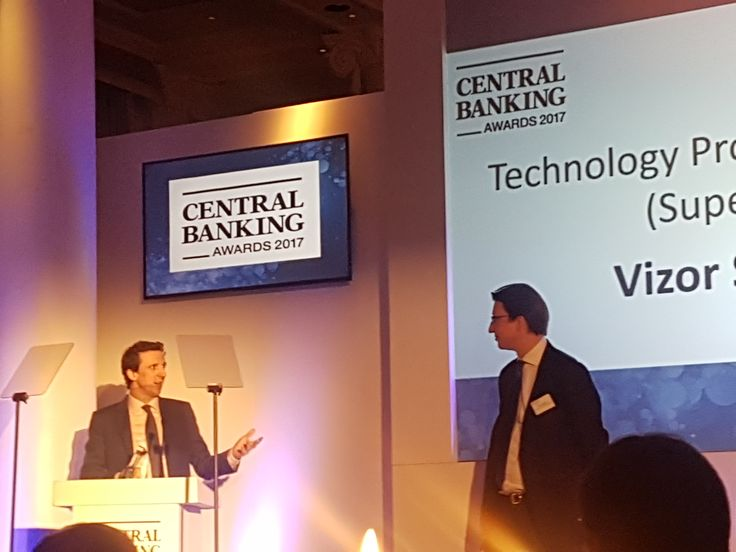 Vizor Software CEO, Conor Crowley, accepting the Technology Provider of the Year - Supervision award at the Central Banking Awards http://vizorsoftware.com/vizor-named-technology-provider-year-supervision-central-banking-awards-2017/