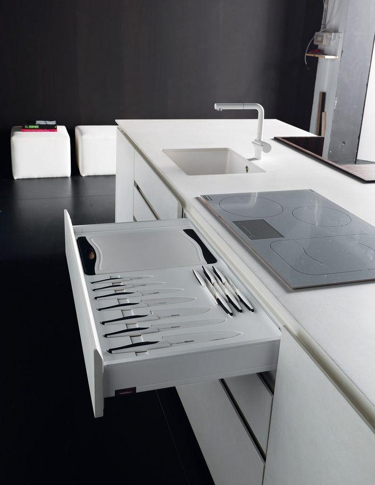 Cucina laccata con isola WIND ETA BLANC by TONCELLI CUCINE