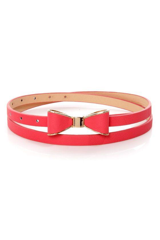 Cute Coral Belt - Bow Belt - Red Belt - $11.00