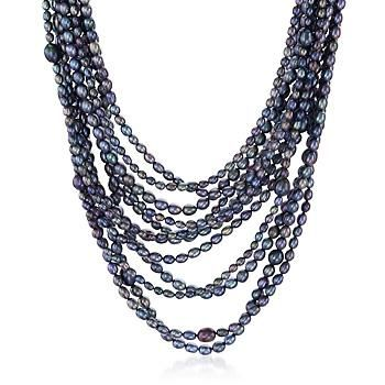 """Ross-Simons - 4-9mm Black Cultured Pearl Multi-Strand Necklace With Sterling Silver. 18"""" - #180692"""