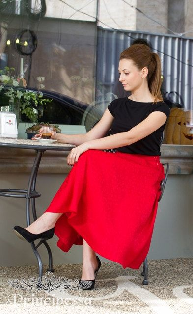 Signature Red Pleated Twill Brocade Midi Skirt by PrincipessaLabel, $65.00